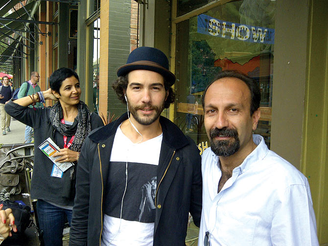 Asghar Farhidi with actor Tahar Rahim of The Past at the Telluride Film Festival