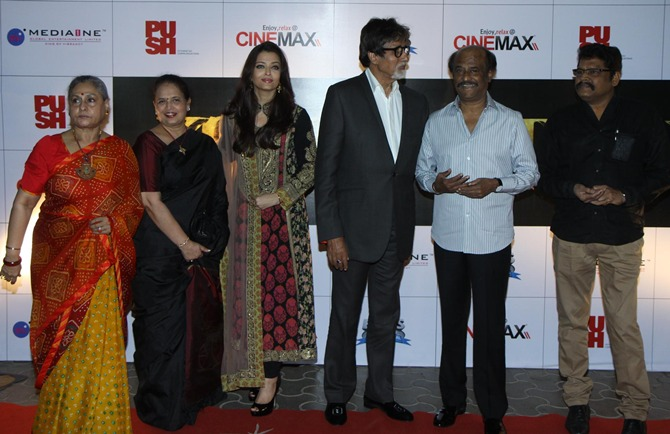 Jaya Bachchan, Aishwarya's mother Vrinda, Aishwarya, Amitabh Bachchan, Rajinikanth and K S Ravikumar