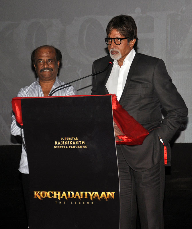 Rajinikanth and Amitabh Bachchan at the event.