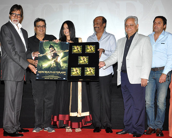 Amitabh Bachchan, Subhash Ghai, Soundarya, Rajinikanth, Ramesh Sippy and Sunil Lulla at the event.