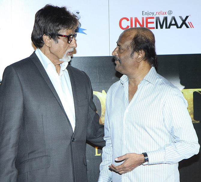 Two of India's greatest legends: Amitabh Bachchan and Rajinikanth.