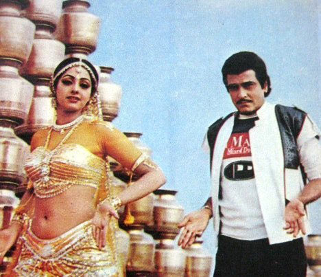 Jeetendra with Sridevi in Himmatwala