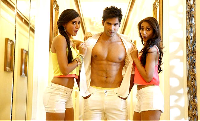argis Fakhri, Varun Dhawan and Ilena D'Cruz in Main Tera Hero