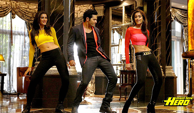 Nargis Fakhri, Varun Dhawan and Ilena D'Cruz in Main Tera Hero