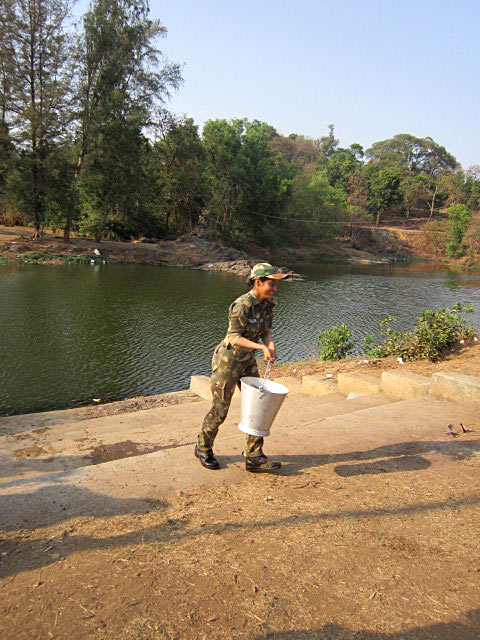 Deepika Singh fetches water on the sets of Diya Aur Baati Hum. It is one of the jungle tasks for her IPS training on the show
