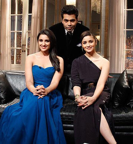 Parineeti Chopra with Alia Bhatt and Karan Johar on Koffee with Karan.