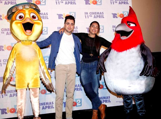 Imran Khan and Sonakshi Sinha with their characters from Rio 2