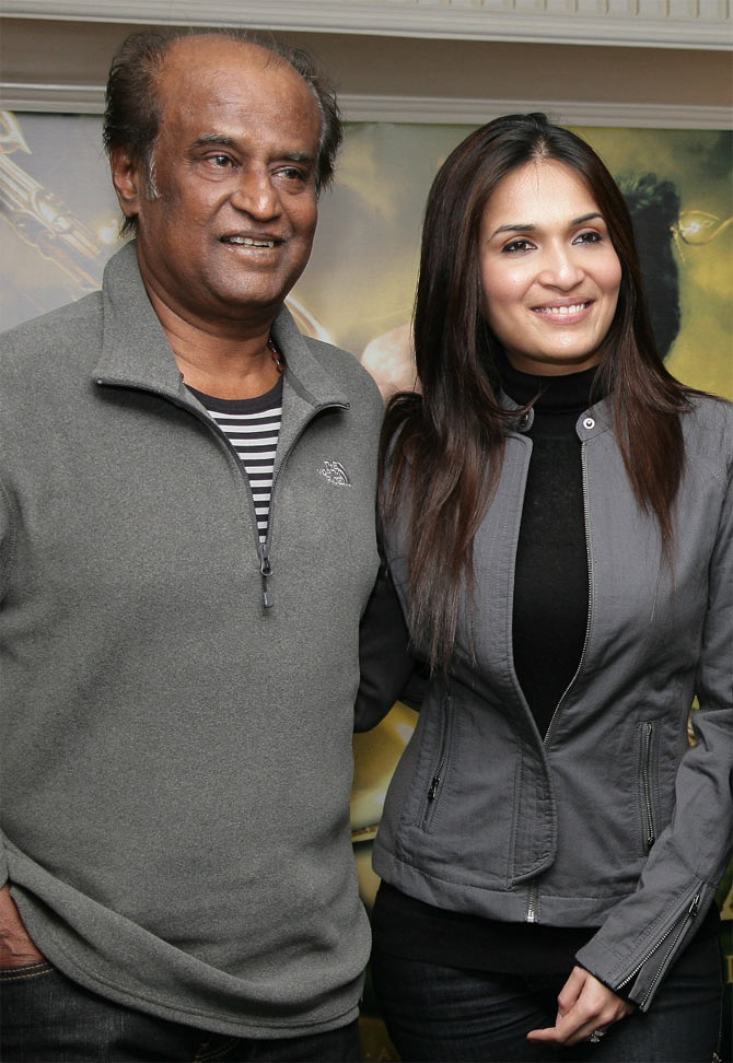 Rajinikanth with his daughter Soundarya