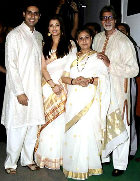 Abhishek. Aishwarya, Jaya and Amitabh Bachchan