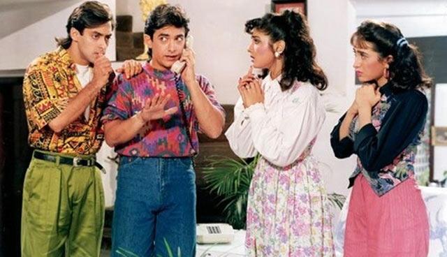 Salman Khan, Aamir Khan, Raveena Tandon and Karisma Kapoor in Andaz Apna Apna