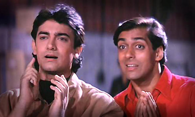 Aamir Khan and Salman Khan in Andaz Apna Apna