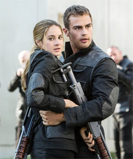 Shaileen Woodley and Theo James in Divergent
