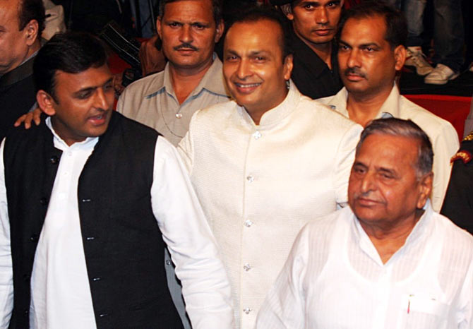 Akhilesh Yadav, his father Mulayam Singh with business tycoon Anil Ambani.
