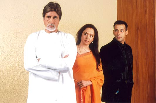 Amitabh Bachchan, Hema Malini and Salman Khan in Baghban