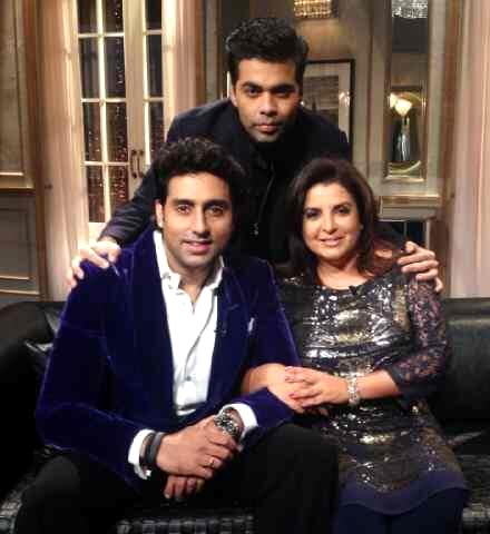 Abhishek Bachchan and Farah Khan with Karan Johar on Happy New Year