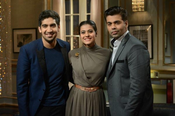 Ayan Mukerji and Kajol with Karan Johar on Koffee With Karan