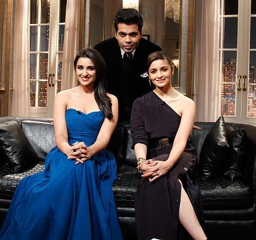 Parineeti Chopra and Alia Bhatt with Karan Johar on Koffee With Karan