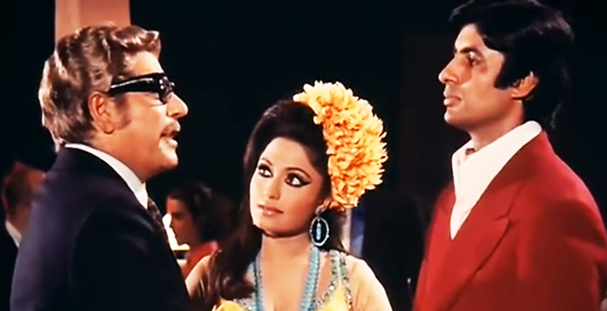 Bindu with Ajit and Amitabh Bachchan in Zanjeer