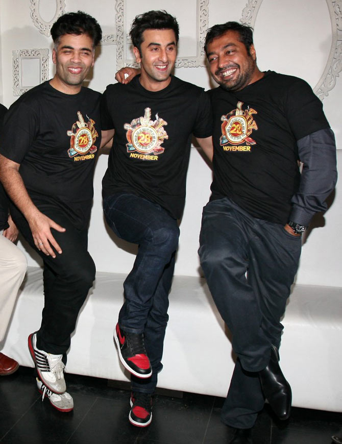 Karan Johar, Ranbir Kapoor and Anurag Kashyap at the Bombay Velvet wrap-up party