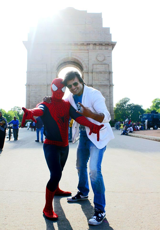 Vivek Oberoi with Spiderman