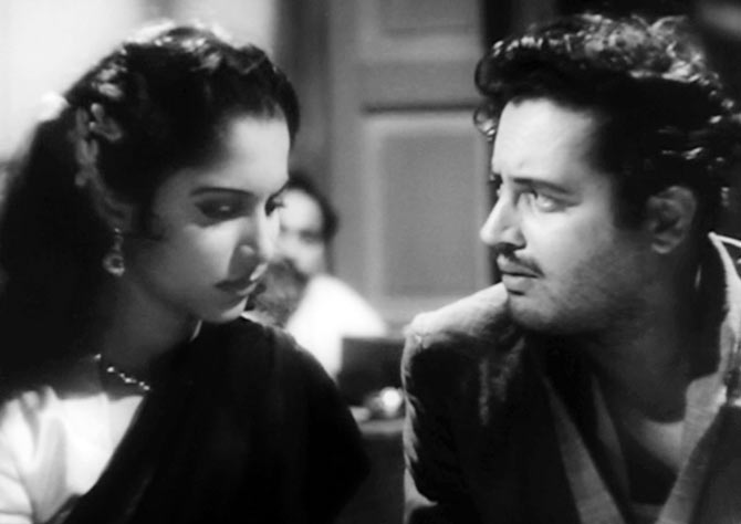 Waheeda Rehman and Guru Dutt in Pyaasa.