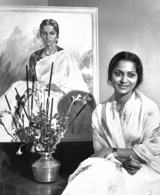 Celebrated artist and set designer M R Achrekar painted this portrait of Waheeda Rehman in the early 1960. Poonam Apartments, Bombay