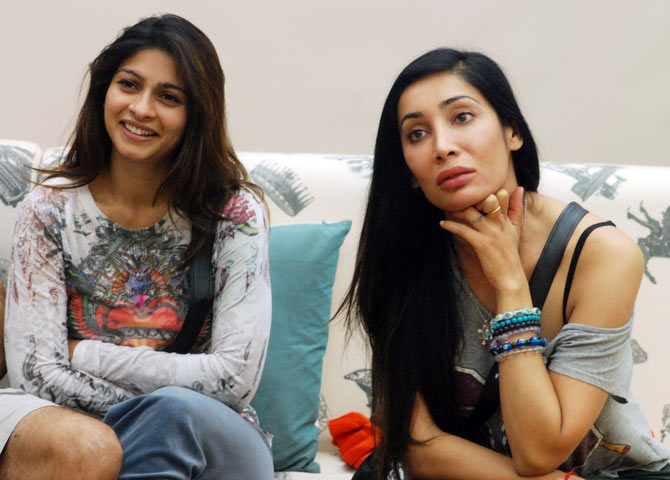 Tanishaa and Sofia Hayat in Bigg Boss 7