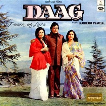 Sharmila Tagore, Rajesh Khanna and Rakhee on the poster of Daag: A Poem of Love