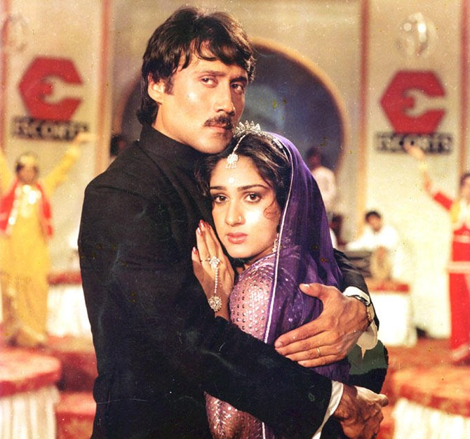 Meenakshi Sheshadri with costar Jackie Shroff in Hero