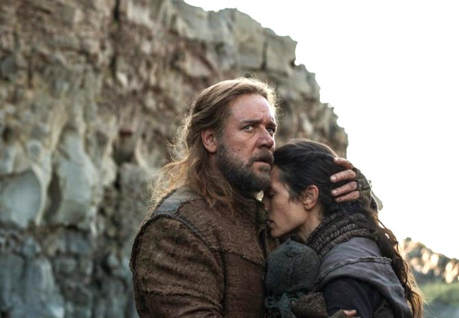 Russell Crowe and Jennifer Connelly in Noah. Inset: Darren Aronofsky