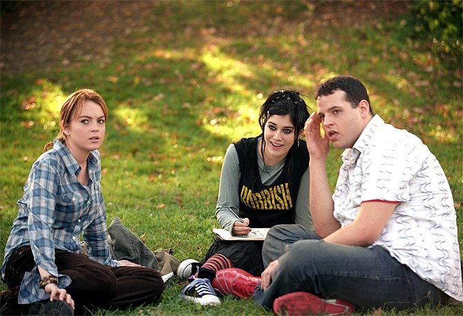 Daniel Franzese with Lindsay Lohan and Lizzy Caplan in Mean Girls
