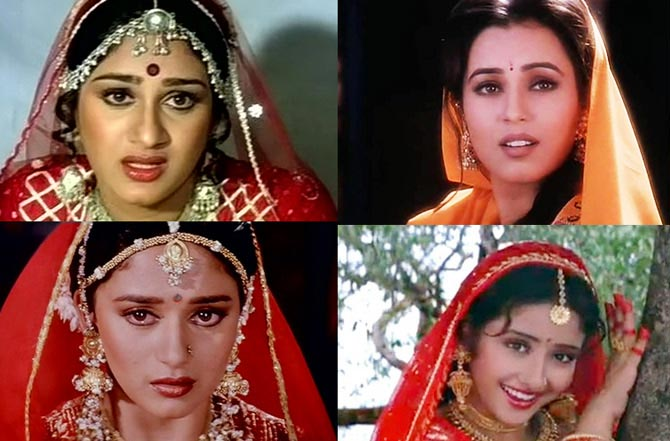 Top: Meenakshi Sheshadri in Hero, Mahima Chaudhry in Pardes. Bottom: Madhuri Dixit in Ram Lakhan and Manisha Koirala in Saudagar