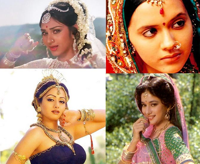 Top: Meenakshi Sheshadri in Hero, Isha Sharvani in Kisna. Bottom: Sridevi in Karma and Madhuri Dixit in Ram Lakhan