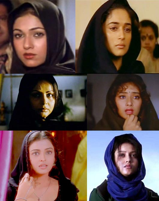 Top: Tina Munim in Karz, Madhuri Dixit in Khalnayak. Middle: Raakhee in Ram Lakhan and Manisha Koirala in Saudagar. Bottom: Aishwarya Rai in Taal and Mishti in Kaanchi