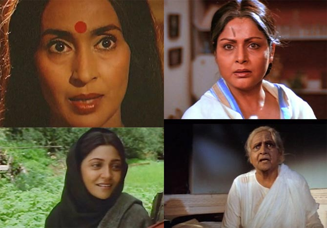 Top: Nutan in Meri Jung, Raakhee in Ram Lakhan. Bottom: Deepti Naval in Saudagar, Durga Khote in Karz