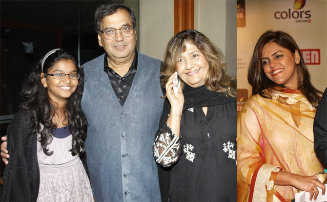Subhash Ghai with wife Rehana and daughters Meghana and Muskaan