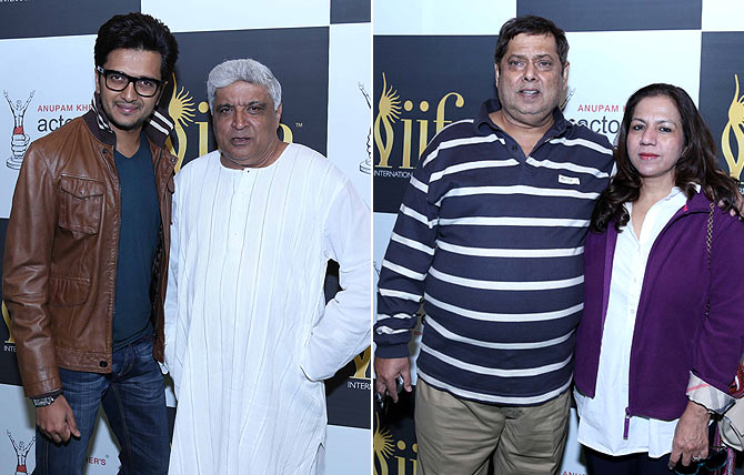 Ritesh Deshmukh, Javed Akhtar, David Dhawan and his wife Karuna at Anupam Kher's workshop