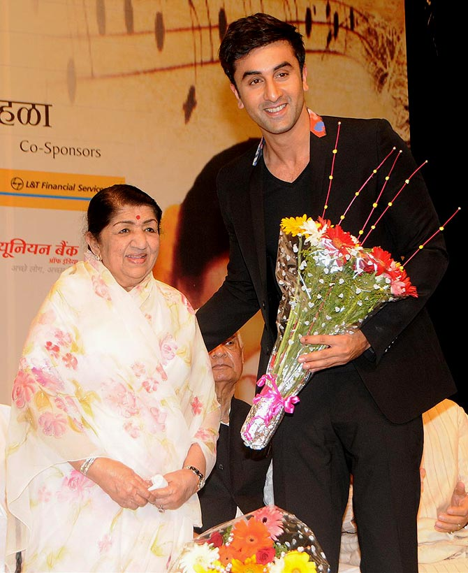 Lata Mangeshkar and Ranbir Kapoor