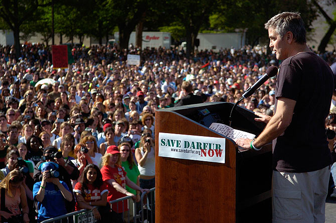George Clooney speaks at a rally in 2006