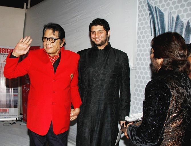 Manoj Kumar with his grandson