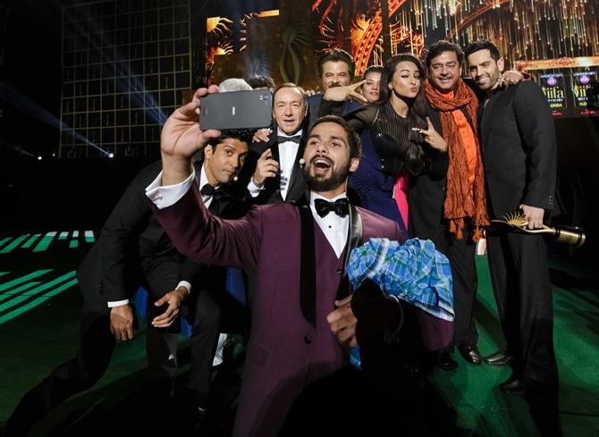 Clockwise from left: Farhan Akhtar, Kevin Spacey, Anil Kapoor, Shabana Azmi, Sonakshi Sinha, Shatrughan Sinha, Luv Sinha and Shahid Kapoor