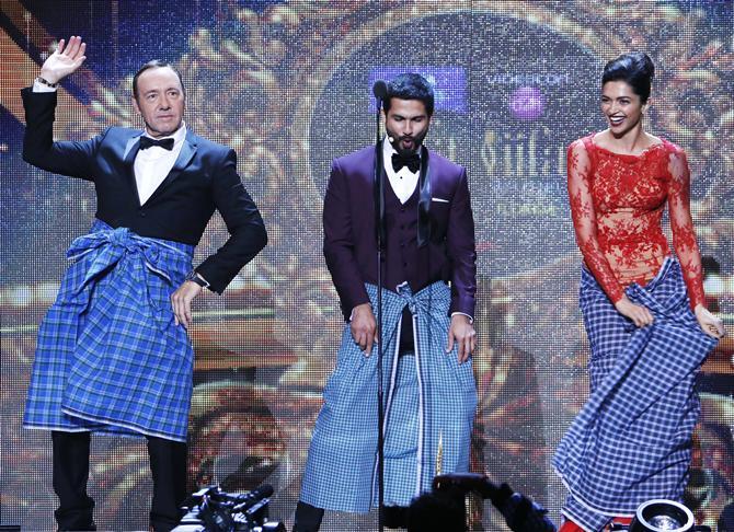 Kevin Spacey, Shahid Kapoor, Deepika Padukone