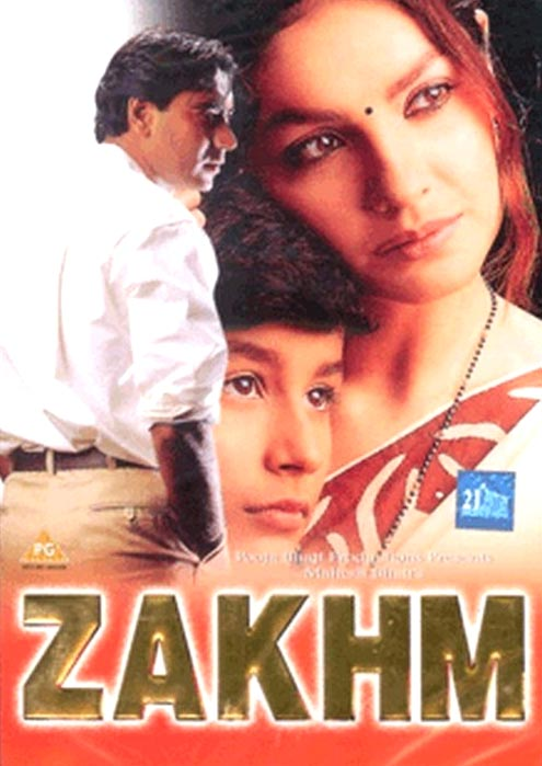 A movie poster of Zakhm.