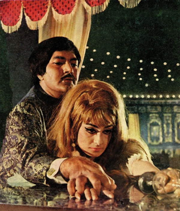 Prem Chopra and Saira Banu in Purab Aur Pachhim.