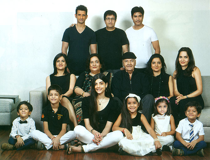 Meet the Chopras: Top: Sons-in-law Sharman Joshi, Rahul Nanda and Vikas Bhalla. Middle: Daughters Punita, Rakita and Prerana, wife Uma and Prem Chopra. Bottom: Grandchildren Vaaryan, Veer, Sanchi, Khyana, Risha and Vihaan.