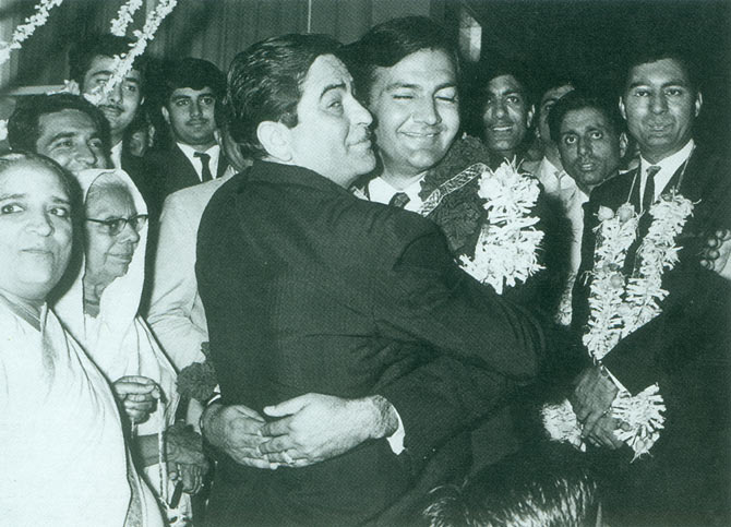 Raj Kapoor and Prem Chopra on the latter's wedding day.