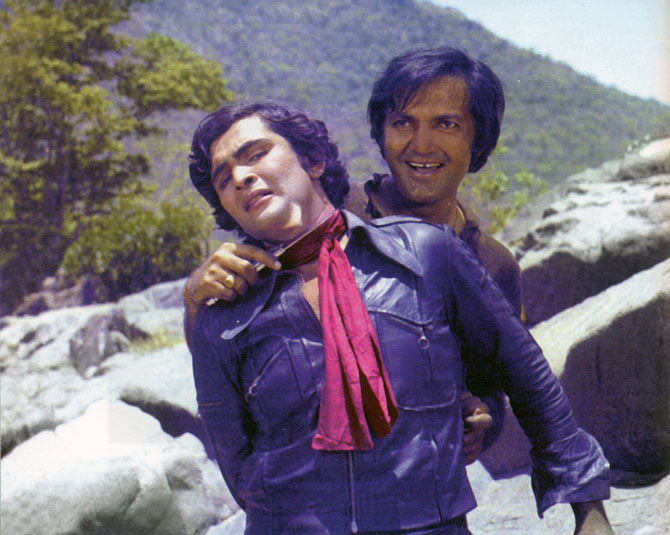 Rishi Kapoor and Prem Chopra in Bobby.