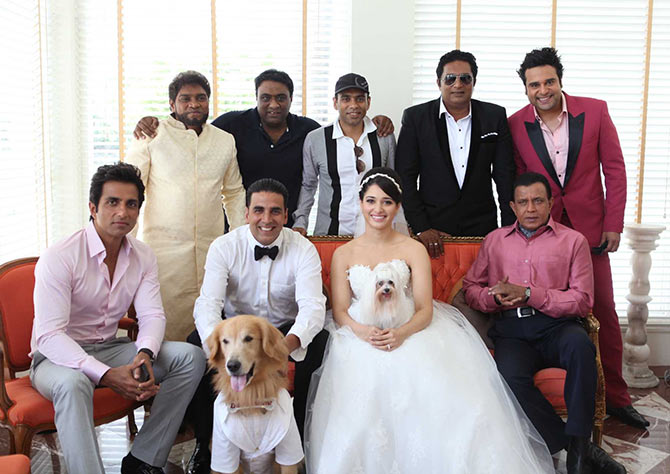 Sajid and Farhad with the cast of Entertainment