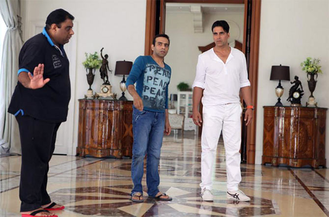 Sajid and Farhad with Akshay Kumar on the sets of Entertainment