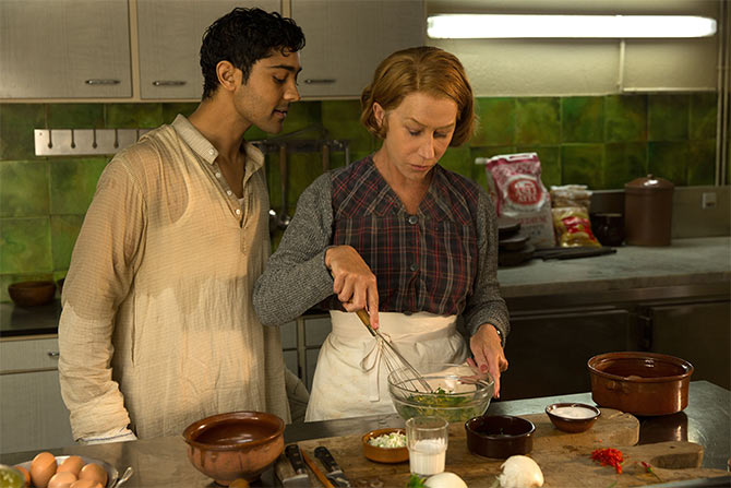 Manish Dayal and Helen Mirren in The Hundred-Foot Journey.